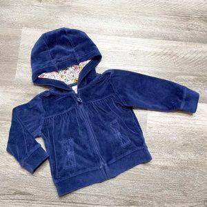 Carter's Navy Velour Zip Up Hoodie 12 Months